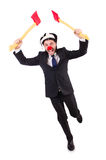 Hombre de negocios divertido del payaso aislado Imagenes de archivo