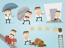 Hombre de negocios divertido en diversas situaciones Imagenes de archivo