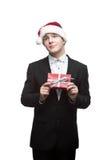 Hombre de negocios divertido joven de la Navidad Imágenes de archivo libres de regalías