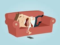 Hombre de negocios divertido que duerme en el sofá stock de ilustración