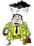 Hombre de negocios divertido que se coloca bajo una nube negra ilustración del vector