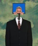 Hombre de negocios divertido, tecnología, ordenador, traje imagen de archivo libre de regalías