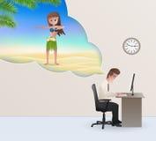 Hombre de negocios Dreaming About Vacation ilustración del vector