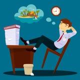 Hombre de negocios Dreaming About Vacation Hombre de negocios perezoso ilustración del vector