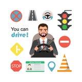 Hombre de negocios Drive un coche Sistema de los símbolos del camino y del carácter del conductor stock de ilustración