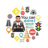 Hombre de negocios Drive un coche Sistema de los símbolos del camino y del carácter del conductor libre illustration