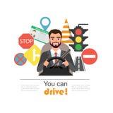 Hombre de negocios Drive un coche Sistema de los símbolos del camino y del carácter del conductor ilustración del vector