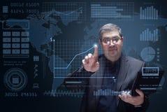 Hombre de negocios e interfaz futurista de HUD Foto de archivo