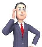Hombre de negocios el hablar de Smartphone Shows Mobile y representación emprendedor 3d Fotos de archivo