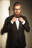 Hombre de negocios elegante que fija su bowtie Fotografía de archivo