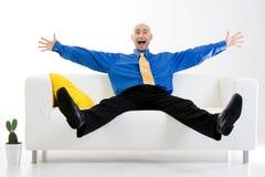 Hombre de negocios emocionado Imagen de archivo libre de regalías