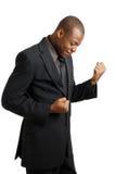 Hombre de negocios emocionado que celebra éxito foto de archivo libre de regalías