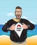 Hombre de negocios emocionado que tira de la camisa abierta para revelar su logotipo Fotografía de archivo libre de regalías