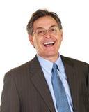 Hombre de negocios emocionado y feliz de la Edad Media Imagen de archivo