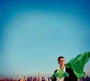 Hombre de negocios Empowerment Cityscape Team Concept del super héroe Foto de archivo libre de regalías