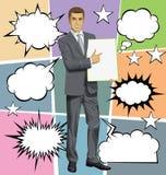 Hombre de negocios With Empty Write Boardr del vector y discurso de la burbuja stock de ilustración
