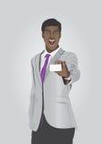 Hombre de negocios enérgico que muestra la tarjeta blanca Fotos de archivo