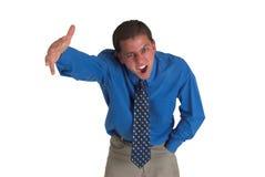 Hombre de negocios en #5 azul Fotos de archivo