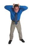 Hombre de negocios en #5 azul Foto de archivo