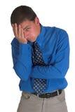 Hombre de negocios en #5 azul Imágenes de archivo libres de regalías