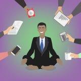 Hombre de negocios en actitud del loto Africano, americano Vector Illustratio libre illustration