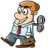 Hombre de negocios en caminar delantero mientras que en el piloto automático libre illustration