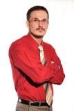 Hombre de negocios en camisa roja Fotos de archivo