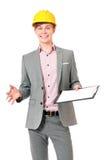 Hombre de negocios en casco Fotos de archivo