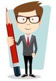 Hombre de negocios en chaqueta con un lápiz rojo grande Foto de archivo