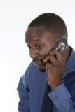 Hombre de negocios en cuestión en el teléfono celular 2 Fotos de archivo