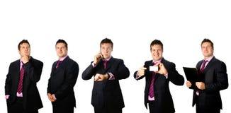 Hombre de negocios en diversas actitudes fotos de archivo libres de regalías