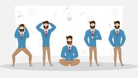 Hombre de negocios en diversas emociones y expresiones stock de ilustración