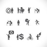 Hombre de negocios en diversas situaciones stock de ilustración