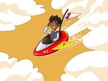 Hombre de negocios en el chaleco que monta un cohete con la bandera del número uno libre illustration