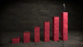 Hombre de negocios en el gráfico de barra del aumento, mercado de levantamiento almacen de metraje de vídeo