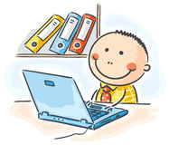 Hombre de negocios en el ordenador libre illustration