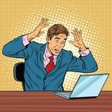 Hombre de negocios en el pánico, leyendo el cuaderno ilustración del vector
