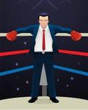 Hombre de negocios en el ring de boxeo que se coloca en los guantes de la caja de la esquina que llevan libre illustration
