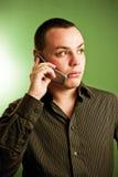 Hombre de negocios en el teléfono móvil Fotos de archivo libres de regalías