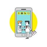 Hombre de negocios en el teléfono móvil del teléfono celular arte del ejemplo del concepto del negocio Foto de archivo