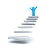 Hombre de negocios en el top de pasos o la escalera sobre blanco Imágenes de archivo libres de regalías