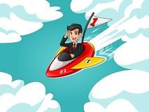 Hombre de negocios en el traje negro que monta un cohete con la bandera del número uno stock de ilustración