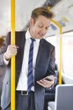 Hombre de negocios en el tren Fotos de archivo libres de regalías