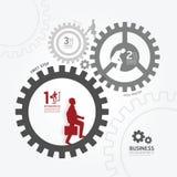 Hombre de negocios en engranaje en la plantilla blanca del estilo ilustración del vector