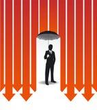 Hombre de negocios en idea creativa de la caja fuerte de las finanzas del paraguas Ilustración del Vector