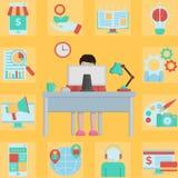 Hombre de negocios en línea que trabaja en casa Ilustración del Vector
