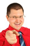 Hombre de negocios en la camisa roja señalada Foto de archivo libre de regalías