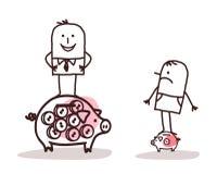 Hombre de negocios en la hucha y el pobre hombre grandes con poco uno ilustración del vector