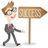 Hombre de negocios en la manera al éxito ilustración del vector