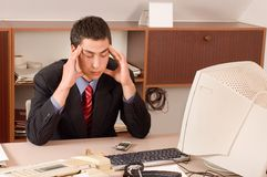 Hombre de negocios en la oficina Imagen de archivo libre de regalías
